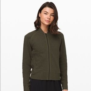 Lululemon On Repeat Olive Green Bomber Jacket 6